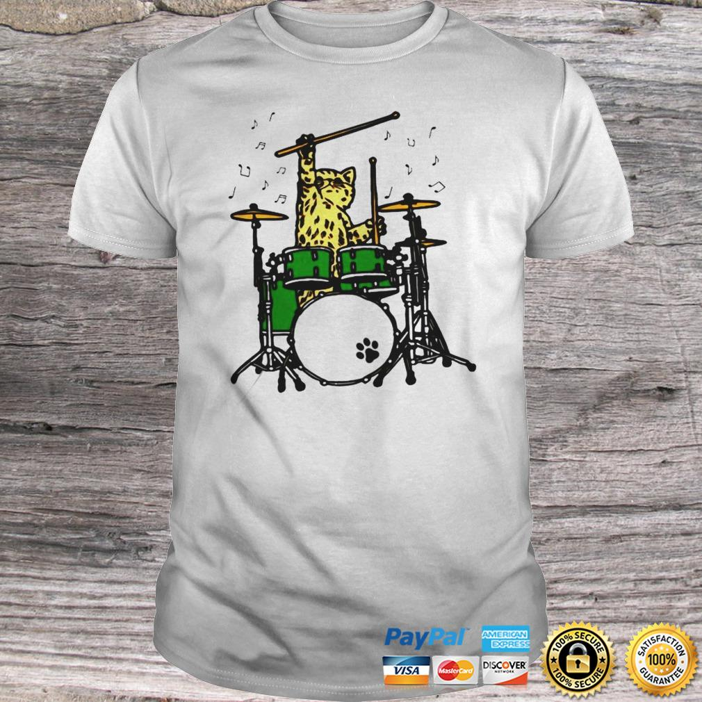 Funny Cat Playing Drums Hoodie Shirt