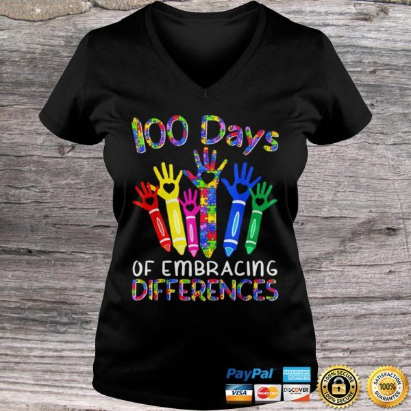 100 Days Of Embracing Differences IEP 100th Day Of School TShirt Ladies V-Neck