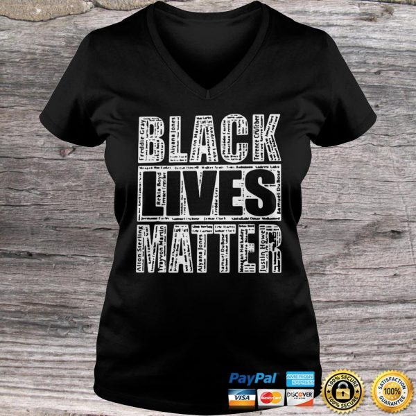 Black Lives Matter With Names Of Victims Shirt Ladies V-Neck