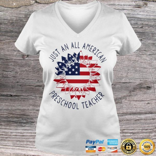 Just an all American Preschool Teacher shirt Ladies V-Neck