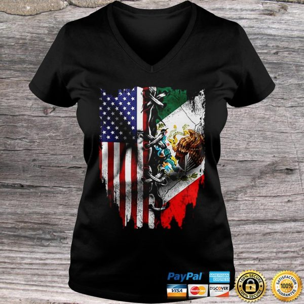 Vintage Mexican American Flag Hoodie Ladies V-Neck